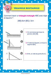 Tracer un triangle rectangle –  au  – Affiche : 2eme, 3eme, 4eme, 5eme Primaire