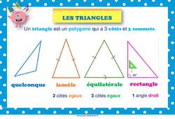 Types de triangles –  au  – Affiche : 2eme, 3eme, 4eme, 5eme Primaire