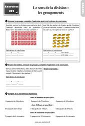 Exercices, révisions sur le sens de la division – les groupements au  avec les corrections : 3eme Primaire
