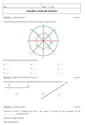 Etude des symétries – Examen Contrôle – Symétrie centrale : 1ere Secondaire