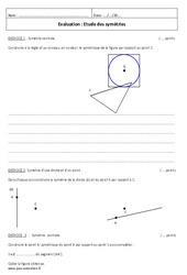 Symétrie centrale – Examen Evaluation à imprimer : 1ere Secondaire