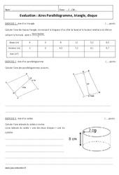 Parallélogramme, triangle, disque – Examen Evaluation sur les aires : 1ere Secondaire