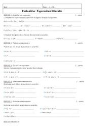 Simplifier, écrire, calcul, développer, factoriser – Examen Evaluation – Expressions littérales : 1ere Secondaire