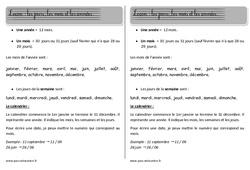 Mois – calendrier – Séquence – Fiche de préparation : 1ere, 2eme Primaire