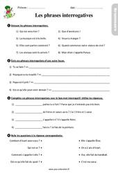 Les phrases interrogatives – Étude de la langue – Exercices avec les corrections : 3eme Primaire