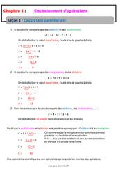 Calculs sans parenthèses – Cours – Enchaînements d'opérations : 1ere Secondaire