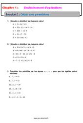 Calculs sans parenthèses – Révisions – Exercices avec correction – Enchaînements d'opérations : 1ere Secondaire