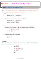 Calculs avec parenthèses – Cours – Enchaînements d'opérations : 1ere Secondaire