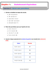 Calculs avec parenthèses – Révisions – Exercices avec correction – Enchaînements d'opérations : 1ere Secondaire