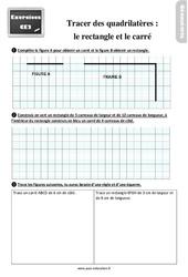 Exercices, révisions sur tracer des quadrilatères– Fiches le rectangle et le carré au  avec les corrections : 3eme Primaire
