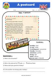 A postcard – Anglais – Lecture – Level 4 : 4eme, 5eme Primaire