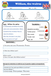 William the walrus – Anglais – Lecture – Level 2 : 2eme, 3eme, 4eme, 5eme Primaire