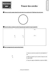 Exercices, révisions sur tracer des cercles au  avec les corrections : 3eme Primaire