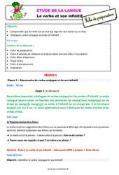 Le verbe et son infinitif – Étude de la langue – Fiche de préparation : 3eme Primaire