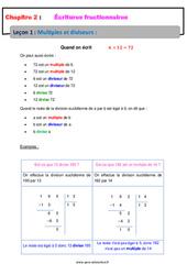 Multiples et diviseurs – Cours – Écritures fractionnaires : 1ere Secondaire