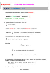 Quotients et fractions – Cours – Écritures fractionnaires : 1ere Secondaire