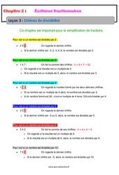 Critères de divisibilité – Cours – Écritures fractionnaires : 1ere Secondaire