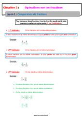 Comparaison de fractions – Cours : 1ere Secondaire