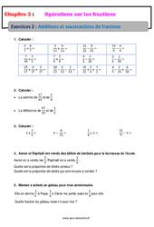 Additions et soustractions de fractions – Révisions – Exercices avec correction : 1ere Secondaire