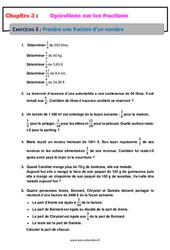 Prendre une fraction d'un nombre – Exercices avec correction : 1ere Secondaire