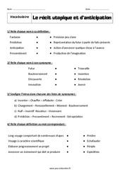 Le récit utopique et d'anticipation – Révisions – Exercices avec correction : 1ere Secondaire