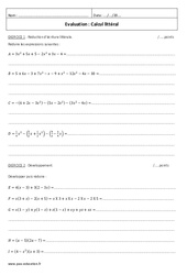 Calcul littéral – Examen Contrôle : 2eme Secondaire