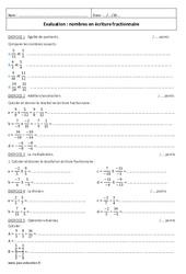 Ecriture fractionnaire – Examen Evaluation à imprimer : 2eme Secondaire
