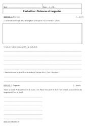 Tangentes – Distances – Examen Evaluation : 2eme Secondaire