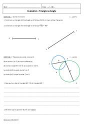 Triangle rectangle – Examen Contrôle : 2eme Secondaire