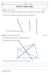 Triangle rectangle – Examen Evaluation – Théorème de Pythagore – Cercle circonscrit : 2eme Secondaire