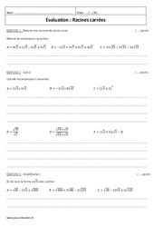 Racines carrées – Examen Contrôle à imprimer : 3eme Secondaire