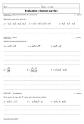 Racine carrée – Examen Evaluation avec le corrigé : 3eme Secondaire