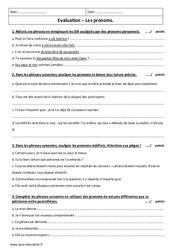 Pronoms personnels, indéfinis – Examen Evaluation : 2eme Secondaire