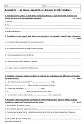 Discours direct et indirect – Paroles rapportées – Examen Evaluation : 2eme Secondaire