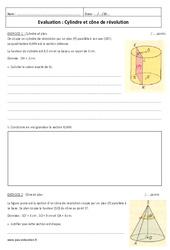 Cylindre et cône de révolution – Examen Contrôle : 3eme Secondaire