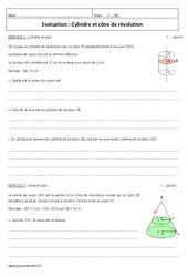 Cône de révolution – Cylindre – Examen Evaluation : 3eme Secondaire