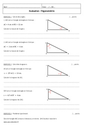 Trigonométrie – Examen Contrôle : 3eme Secondaire