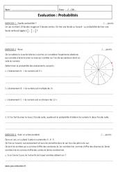 Probabilités – Examen Contrôle : 3eme Secondaire