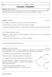 Probabilités – Examen Evaluation à imprimer : 3eme Secondaire