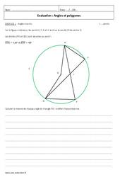 Polygones et angles – Examen Evaluation à imprimer : 3eme Secondaire