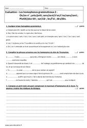 Homophone grammatical – Examen Evaluation à imprimer : 2eme Secondaire
