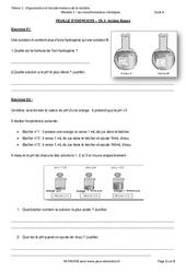 Acides – Bases – Exercices avec les corrections : 3eme Secondaire
