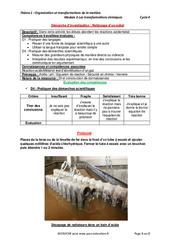 Nettoyage d'un métal – Démarche d'investigation avec les corrections : 3eme Secondaire