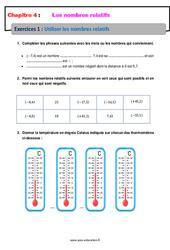 Utiliser les nombres relatifs – Exercices avec correction : 1ere Secondaire