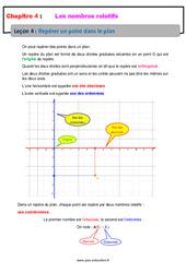 Repérer un point dans le plan – Les nombres relatifs – Cours : 1ere Secondaire