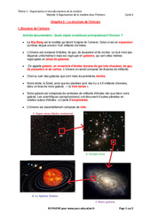 La structure de l'Univers – Cours : 2eme Secondaire