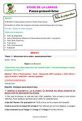 Passé – présent – futur – Étude de la langue – Fiche de préparation : 2eme Primaire