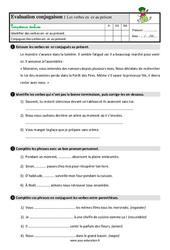 Présent des verbes en – er – Étude de la langue – Examen Evaluation avec les corrigés : 3eme Primaire