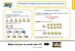 Leçon, trace écrite sur connaître la relation entre les centimes et les euros au  : 2eme Primaire