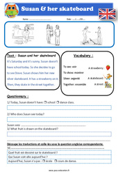 Susan and her skateboard – Anglais – Lecture – Level 2 : 2eme, 3eme, 4eme, 5eme Primaire